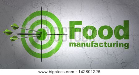Success Industry concept: arrows hitting the center of target, Green Food Manufacturing on wall background, 3D rendering