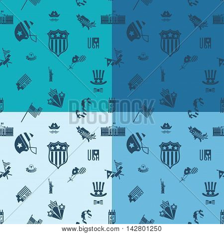 4th of July, Independence Day of the United States, Four Background in Different Colors Vector