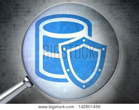 Programming concept: magnifying optical glass with Database With Shield icon on digital background, 3D rendering