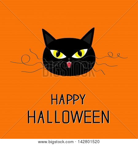 Black cat head. Yellow eyes fangs curl moustaches whisker. Happy Halloween greeting card. Funny cartoon character. Isolated. Orange background. Flat design. Vector illustration