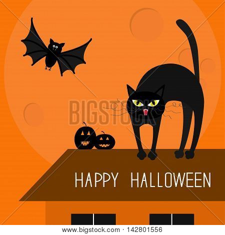 Cat arch back. Kitty on roof. Yellow eyes fangs curl whisker. Flying bat. Pumpkin. Happy Halloween card. Moon house windows. Funny cartoon character Isolated Orange background. Flat design Vector