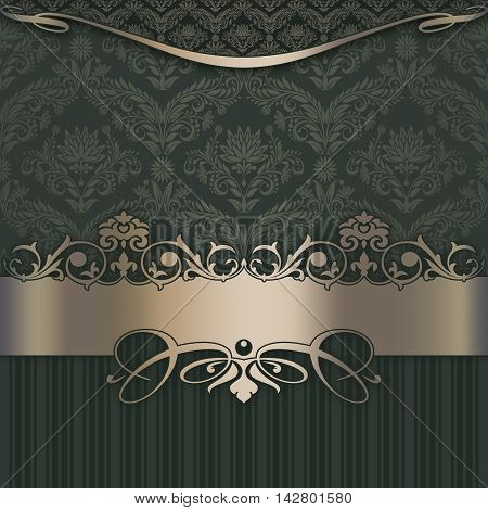 Elegant vintage background with decorative border and old-fashioned patterns.