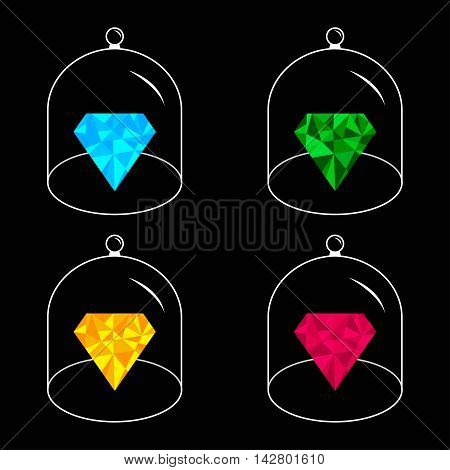 Polygonal diamond set. Glass bell cover cap. Half sphere lid dome with handle. Black background. Vector illustration.