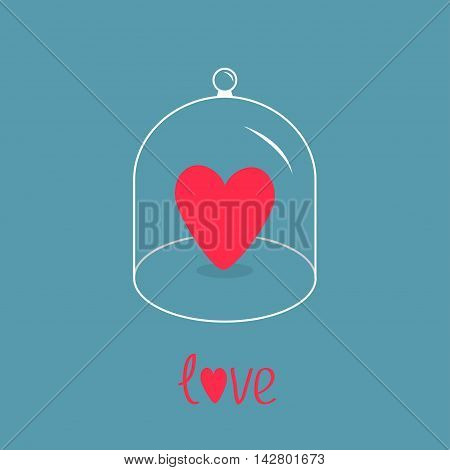Pink heart. Glass bell cover cap. Half sphere lid dome with handle. Love greeting card. Blue background. Vector illustration.