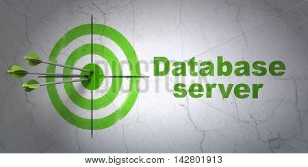 Success Software concept: arrows hitting the center of target, Green Database Server on wall background, 3D rendering