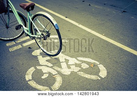 Cycle Lane and Cyclist made retro color style