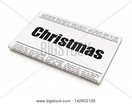 Entertainment, concept: newspaper headline Christmas on White background, 3D rendering