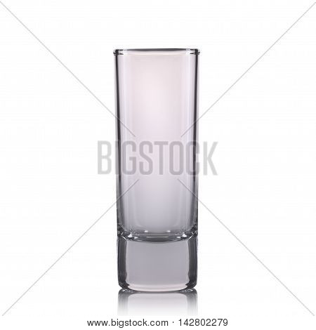 Empty cocktail shot glass on a white background.