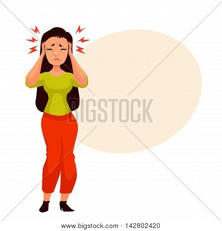 Black haired young woman having a headache, cartoon style illustration isolated on white background. Beautiful girl having migraine, feeling unwell and sad, crying from pain
