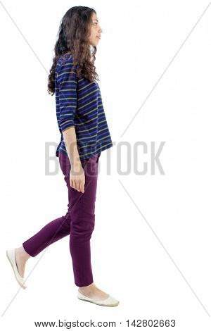 back view of walking  curly woman.  backside view of person.  Rear view people collection. Isolated over white background. Long-haired curly girl is sad side.
