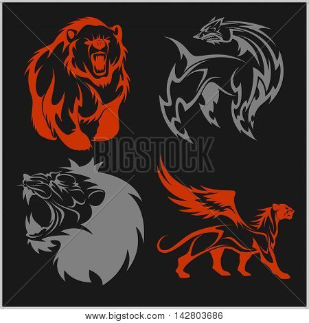 Lion head, griffin fyl bear tattoos and designs on tribal style.