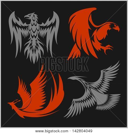 Flying eagle, peacock and pheasant vector logo for heraldic or tattoo design