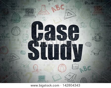 Learning concept: Painted black text Case Study on Digital Data Paper background with   Hand Drawn Education Icons