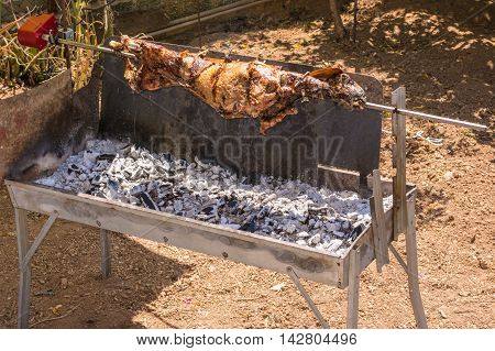 Traditional Greek orthodox Easter food grilled lamp.