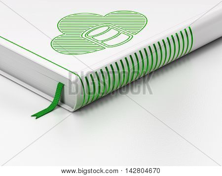 Cloud networking concept: closed book with Green Database With Cloud icon on floor, white background, 3D rendering