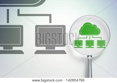 Cloud networking concept: magnifying optical glass with Cloud Network icon on digital background, empty copyspace for card, text, advertising, 3D rendering