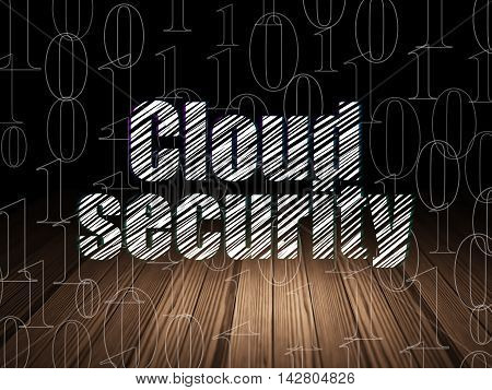 Cloud computing concept: Glowing text Cloud Security in grunge dark room with Wooden Floor, black background with  Binary Code