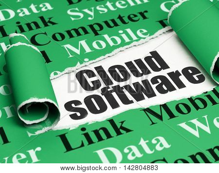 Cloud networking concept: black text Cloud Software under the curled piece of Green torn paper with  Tag Cloud, 3D rendering