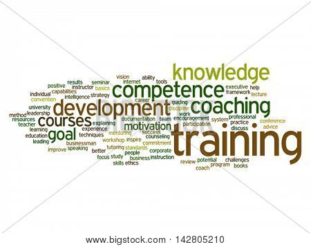 Vector concept or conceptual training, coaching or learning, word cloud isolated on background