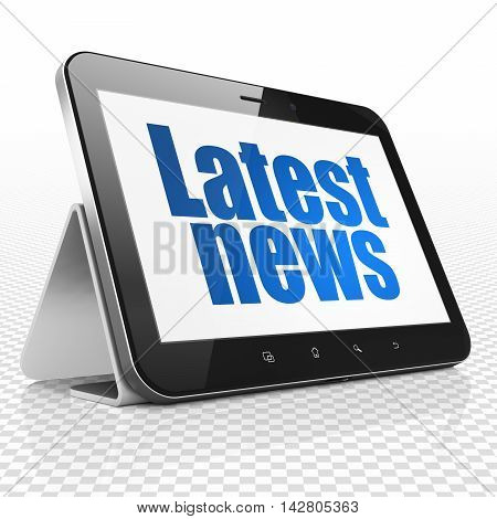 News concept: Tablet Computer with blue text Latest News on display, 3D rendering