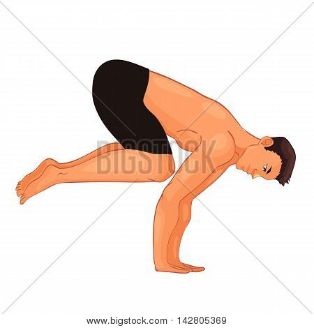handsome young man in various poses of yoga, cartoon style vector illustration isolated on white background. Fit and strong young man doing yoga, collection of asanas, healthy lifestyle