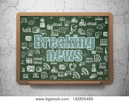 News concept: Chalk Blue text Breaking News on School board background with  Hand Drawn News Icons, 3D Rendering