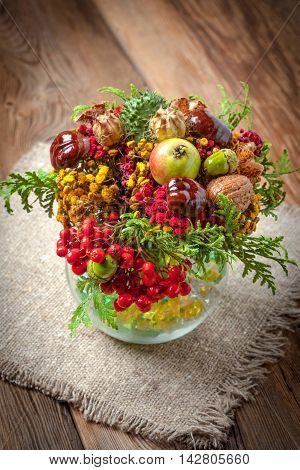 Bouquet Made Of Autumn Plants.