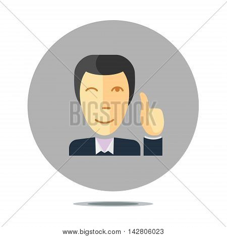 conceptual sign with person smiling and holding thumb up, flat design style
