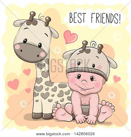Cute Cartoon Baby in a giraffe hat and giraffe