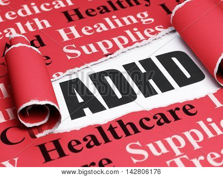 Medicine concept: black text ADHD under the curled piece of Red torn paper with  Tag Cloud, 3D rendering