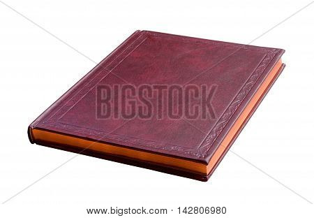 purple book with gold pages isolated on white background