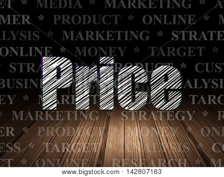 Advertising concept: Glowing text Price in grunge dark room with Wooden Floor, black background with  Tag Cloud