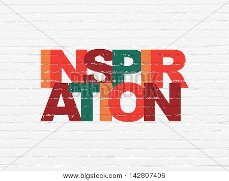 Advertising concept: Painted multicolor text Inspiration on White Brick wall background
