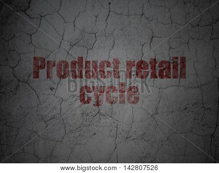 Advertising concept: Red Product retail Cycle on grunge textured concrete wall background