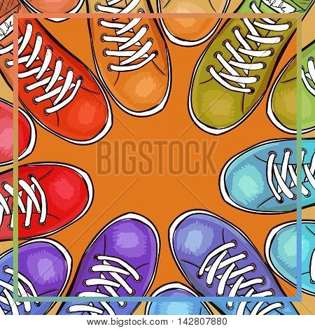 Colorful poster with athletic shoes with space for text. Advertising sport sneakers. Vector illustration