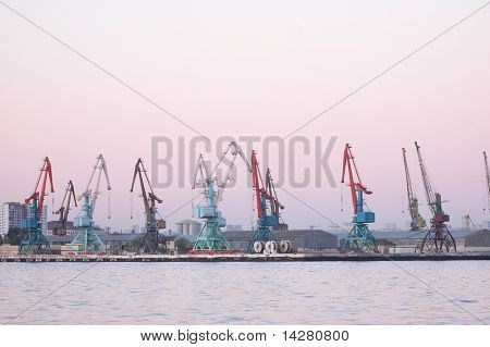 Cranes in Baku port at the evening