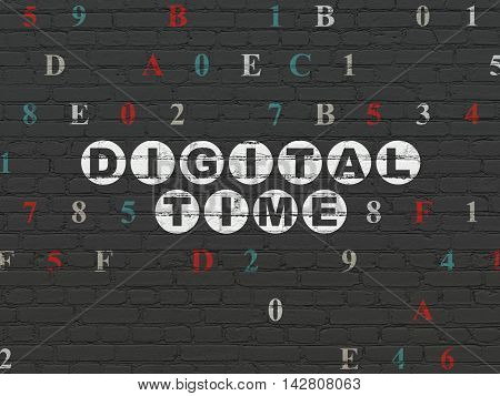 Timeline concept: Painted white text Digital Time on Black Brick wall background with Hexadecimal Code
