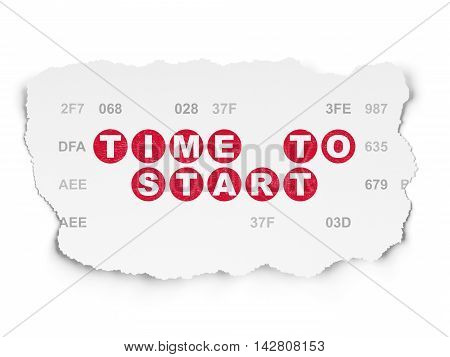 Timeline concept: Painted red text Time to Start on Torn Paper background with  Hexadecimal Code
