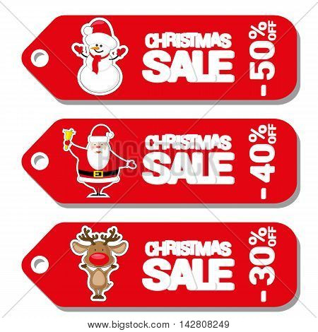 Set Pattern For Label Christmas Sale With Santa Claus, Deer And Snowman Isolated On White Background