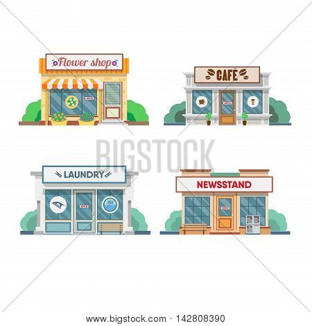 Flower shop, laundry, barber, cafe facade in the town. Vector illustration