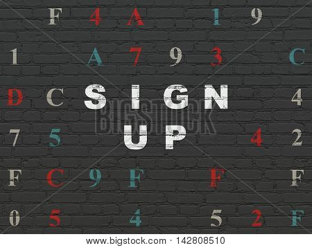 Web design concept: Painted white text Sign Up on Black Brick wall background with Hexadecimal Code