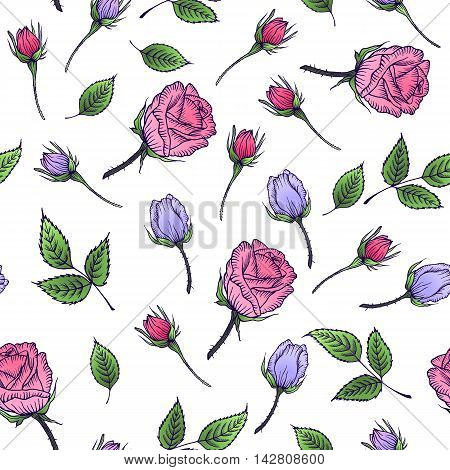 Seamless floral pattern with rose and leaf. Pink and lilac rose. Flower rose pattern. Vector illustration. Design by card mothers day wedding birthday textile web wallpaper holiday