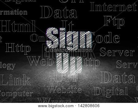 Web development concept: Glowing text Sign Up in grunge dark room with Dirty Floor, black background with  Tag Cloud