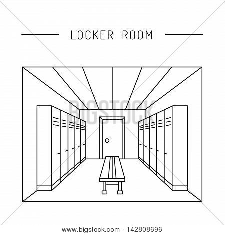 A perspective view of the interior of the locker rooms with equipment cabinets and benches