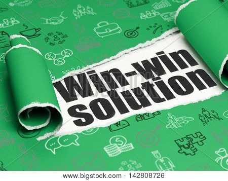 Finance concept: black text Win-win Solution under the curled piece of Green torn paper with  Hand Drawn Business Icons, 3D rendering