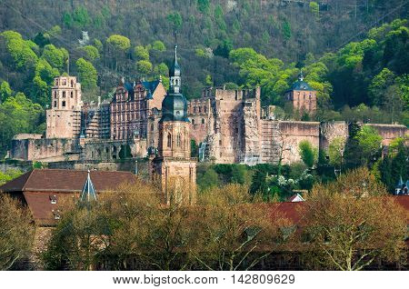 View of Renaissance style Heidelberg Castle - ruin and a landmark in Germany. Popular tourist destination, most famous attraction of the area