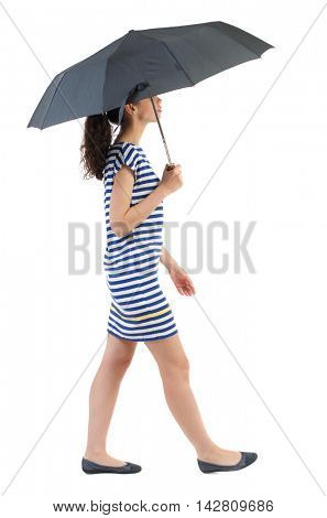 young woman in dress walking under an umbrella. Rear view people collection.  backside view of person.  Isolated over white background. Swarthy girl in a checkered dress comes in the rain.