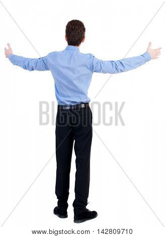 A man in a jacket raised his hands in prayer.   Standing young man. Rear view people collection.  backside view of person.  Isolated over white background. Businessman in blue shirt, arms outstretched