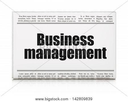Finance concept: newspaper headline Business Management on White background, 3D rendering