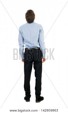 back view of Business man  looks.  Rear view people collection.  backside view of person.  Isolated over white background. Curly businessman in a light shirt looks upward.